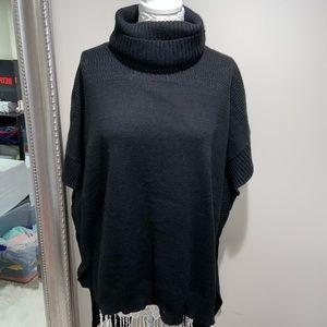 Oversized hi-low turtle neck tunic sweater